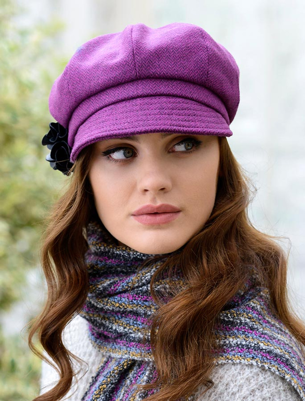 Ladies Tweed Newsboy Hat - Magenta  71acd9978df