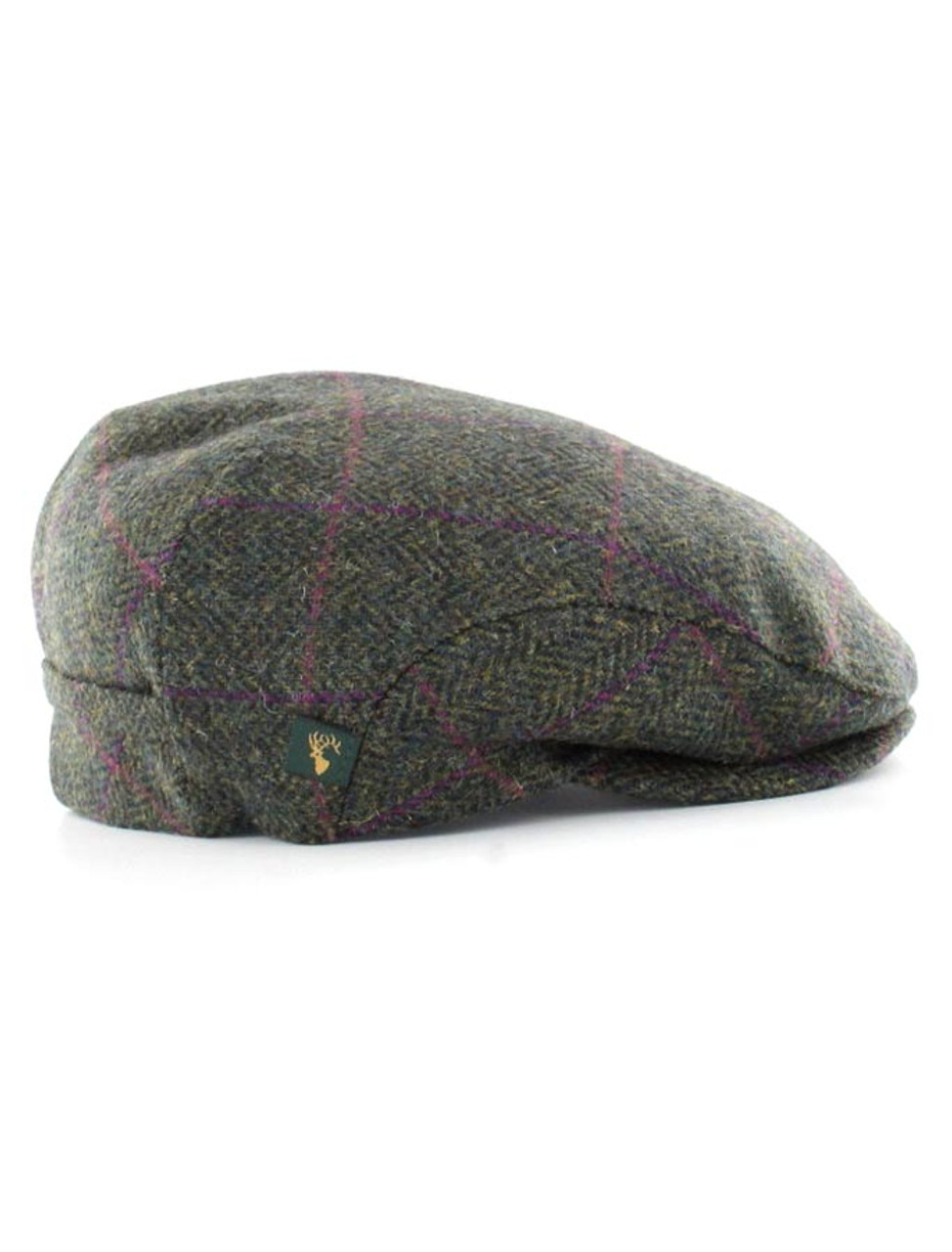 Trinity Tweed Flat Cap - Green with Pink  b0e5997dc84