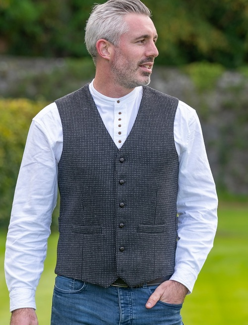 Black and Grey Night Check Tweed Waistcoat