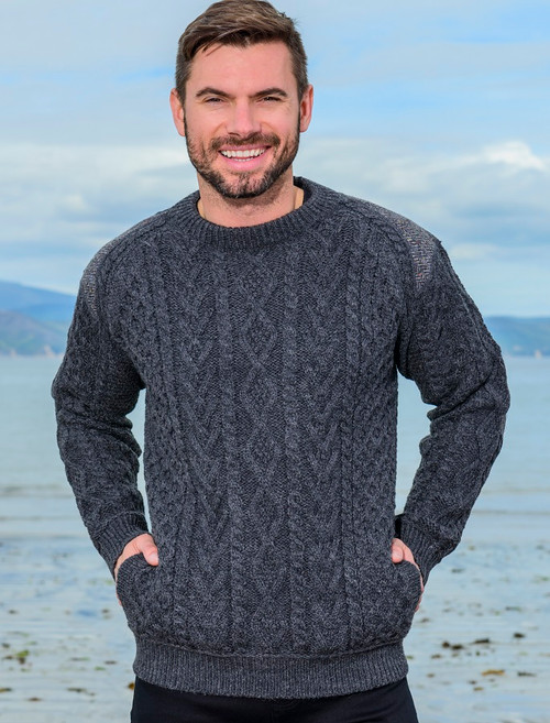 babc75609f391 Crew Neck Aran Sweater With Tweed Patches