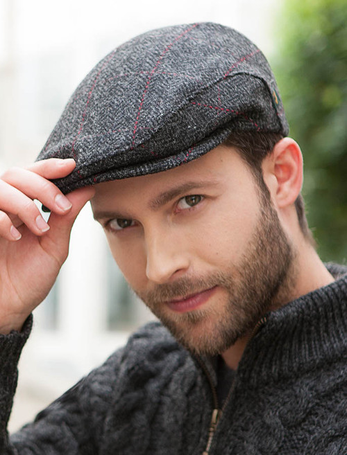 Trinity Tweed Flat Cap - Charcoal with Red 02ca4c88ee6