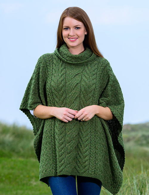Super Soft Cowl Neck Poncho - Meadow Green