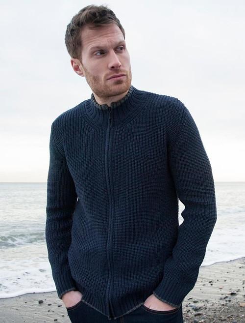 Men S Merino Wool Ribbed Cardigan