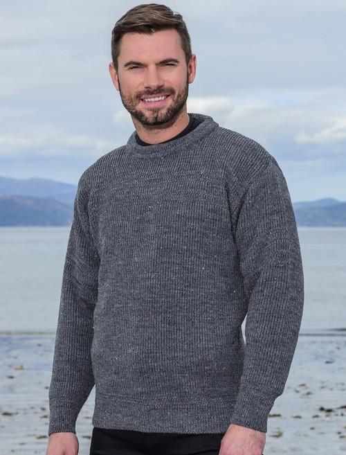 Worsted Wool Mens Hillwalker Sweater   Aran Sweater Market