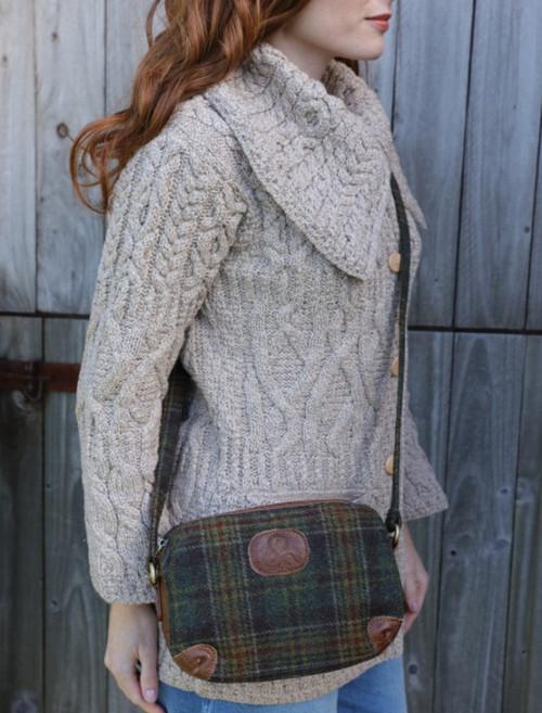 Aran Tweed Leather Shoulder Bag