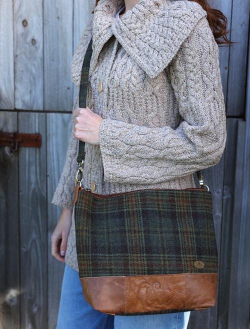 Ladies Tweed & Leather Tote Bag