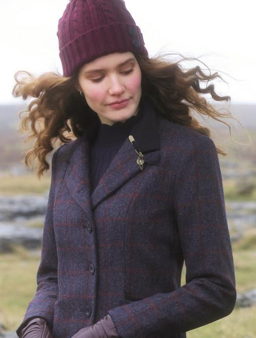 Saoirse Tweed Jacket – Navy Herringbone Check