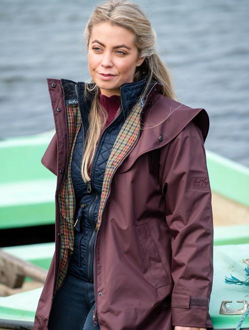 Donegal Ladies Waterproof Full Length Coat -Deep Claret