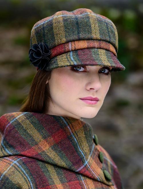 Ladies Tweed Newsboy Hat - Autumn Plaid