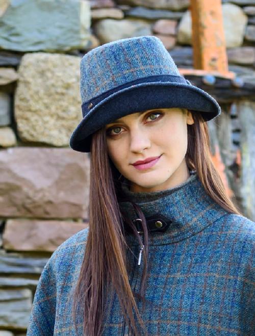 Ladies Tweed Clodagh Cap - Navy Green & Brown Plaid