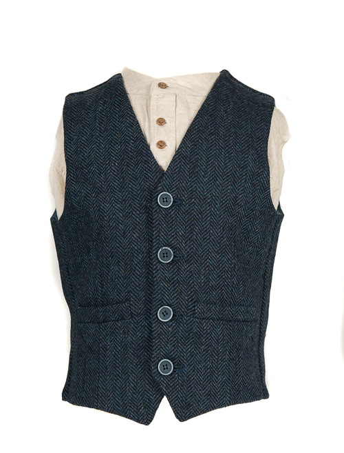 Boys Traditional Waistcoat - Blue Herringbone