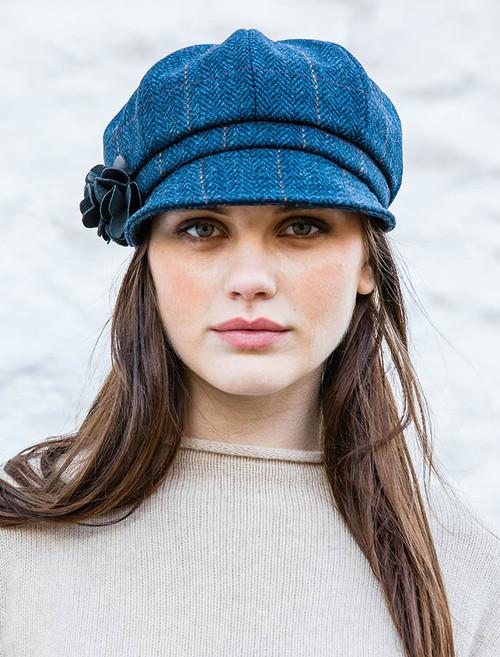 Ladies Tweed Newsboy Hat - Denim