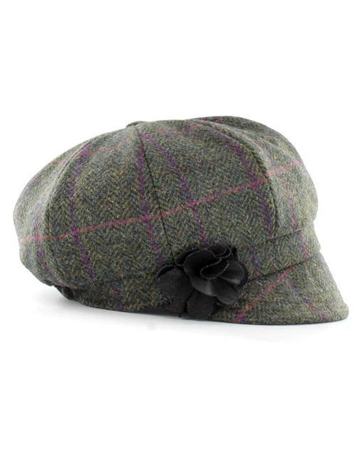 Ladies Tweed Newsboy Hat - Forest Green 490c107fd40d