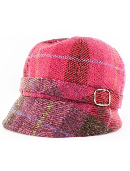 Ladies Tweed Flapper Cap - Pink Plaid