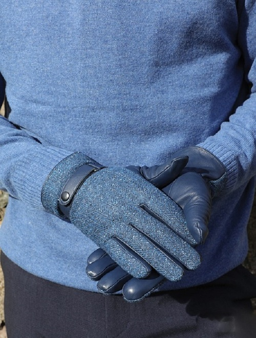 Kerry Tweed & Leather Gloves - Midnight Blue