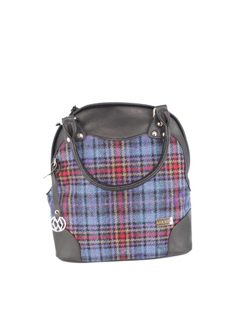 Abbie Tweed & Leather Bag - Blue & Red Plaid