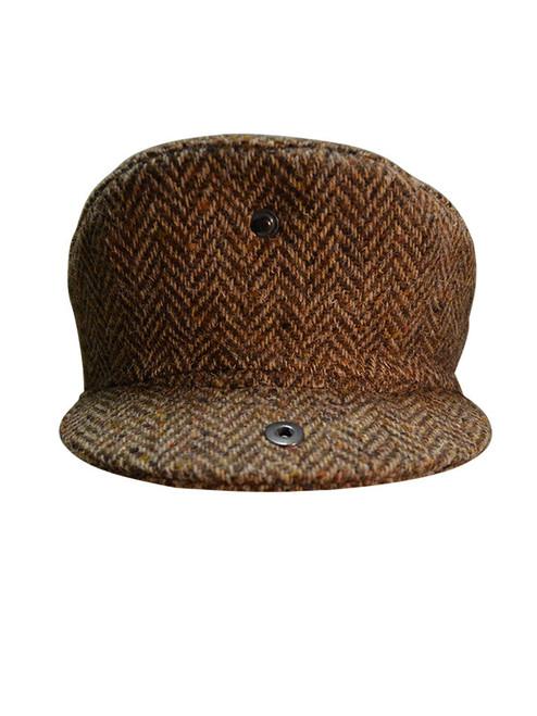 Feint Check Brown Herringbone Wool Blend Quilted Lined Tweed Flat Cap Peaked Hat