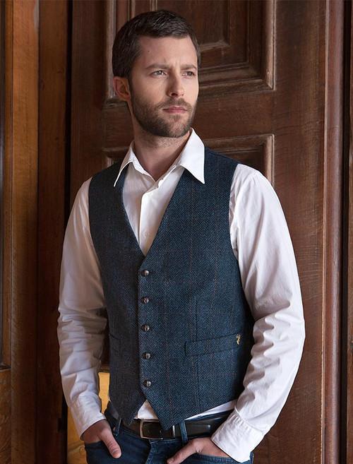 Classic Tweed Waistcoat - Denim & Rust Check