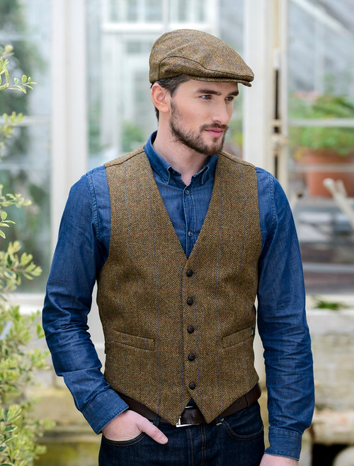 Irish Tweed Herringbone Waistcoat - Brown & Red Check