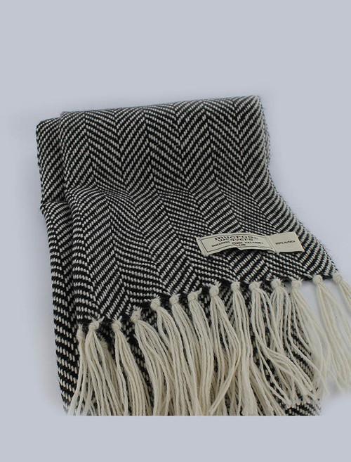 ef92ce07774d Alpaca Scarf - Black White Herringbone
