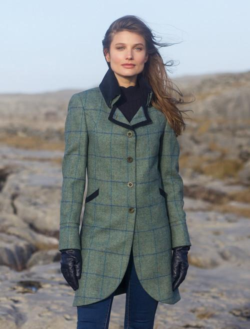Sinead Tweed Coat - Light Teal Check
