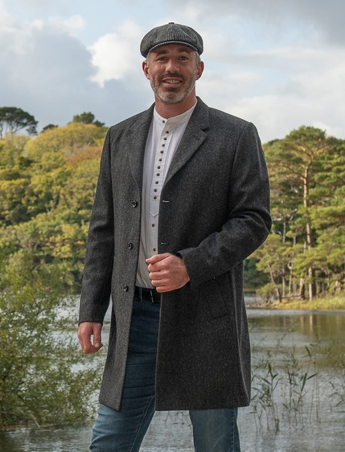Owen Tweed Coat - Grey Herringbone