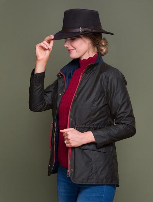 Fiona Waxed Jacket -Olive