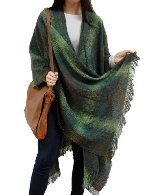 Lambswool Celtic Ruana Wrap - Green Checks
