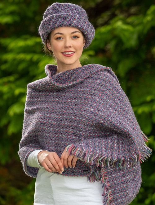 Wool Country Stole - Connemara Violet