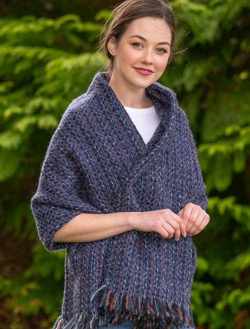 Wool Country Stole - Connemara Indigo