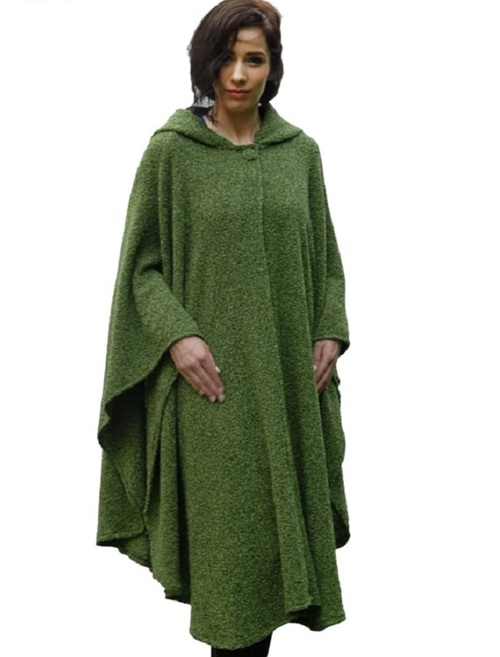 Tara Cashmere Blend Hooded Cape - Acer Green