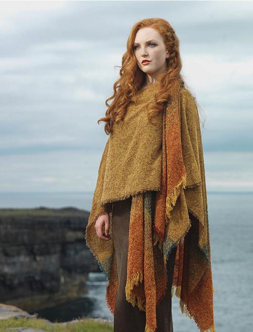 Lambswool Celtic Ruana Wrap - Gold