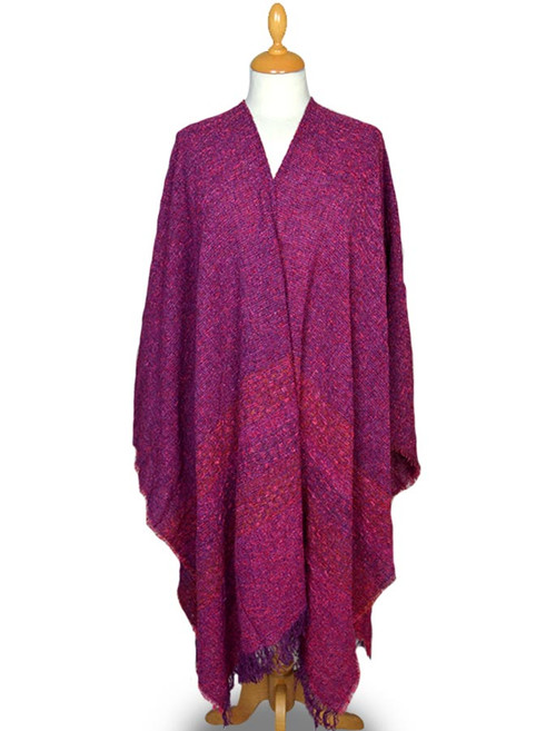 Lambswool Celtic Ruana Wrap - Sunset Pink