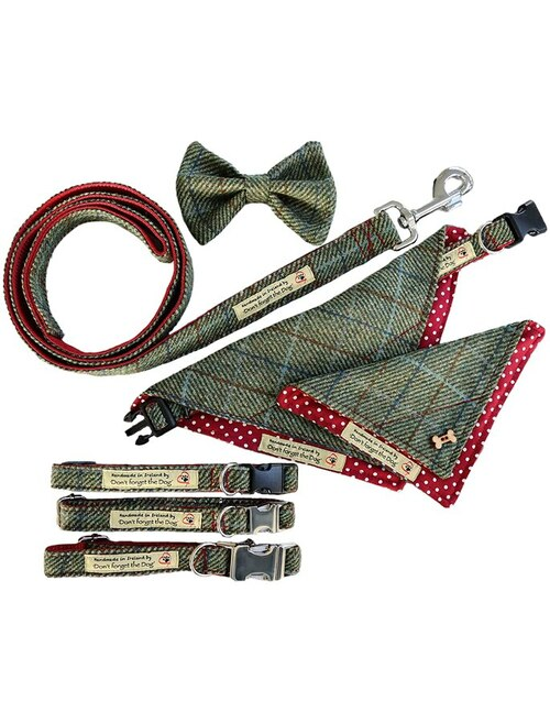 Tweed Wool Dog Lead -Two Tone Green & Red