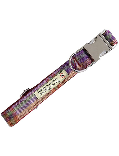 Tweed Dog Collar Metal Buckle - Burgundy Plaid