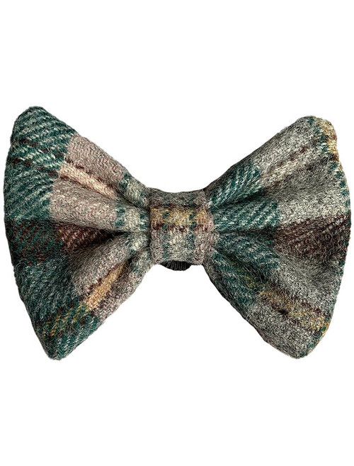 Tweed Wool Dog Dicky Bow - Yellow & Green Plaid