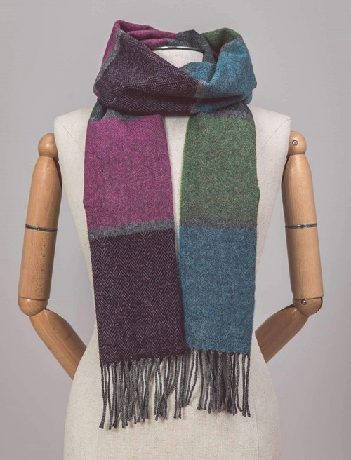 Lambswool Scarf - Multi Block Stripe