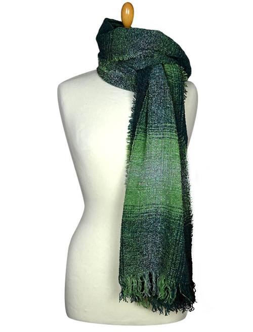 Fine Lambswool Celtic Stole - Green Checks