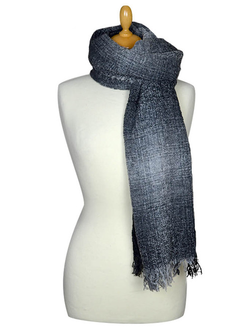 Fine Lambswool Celtic Stole - Grey Checks