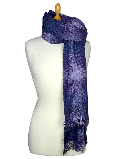 Fine Lambswool Celtic Stole - Purple Checks