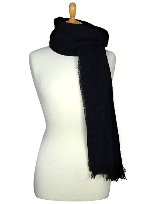 Fine Lambswool Celtic Stole - Black