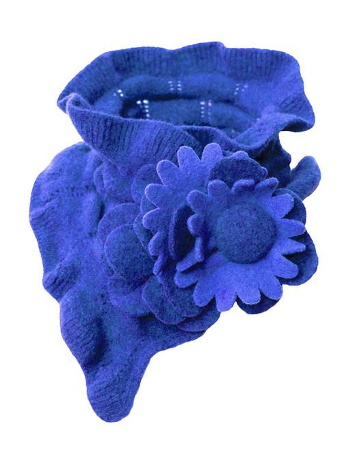 Lambswool Rose Collar - Blue