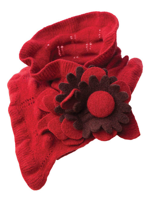 Lambswool Rose Collar - Red