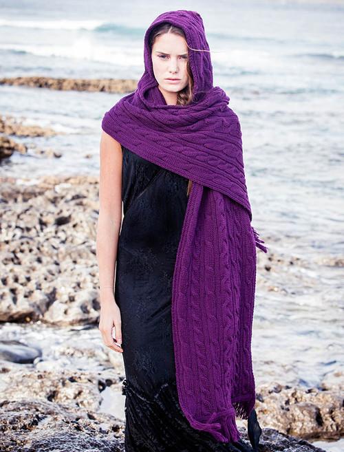 Hooded Scarf Shawl - Purple