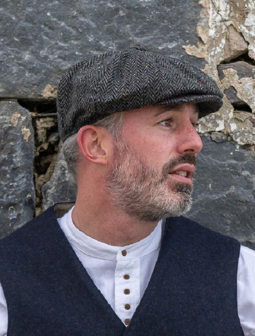 Donegal Tweed Men's Driving Cap - Charcoal
