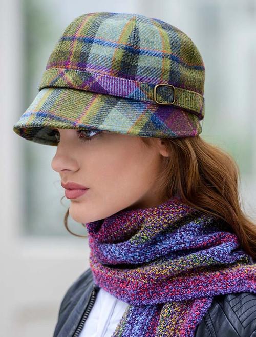 Ladies Tweed Flapper Cap - Multi Vernal Plaid