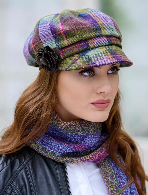 Ladies Tweed Newsboy Hat - Multi Vernal Plaid