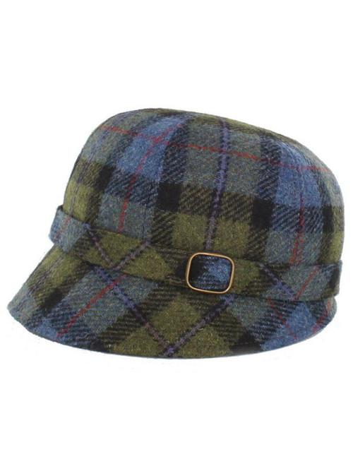 0e51a105c14e4 Ladies Tweed Flapper Cap - Blue Green Plaid