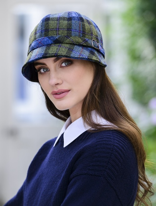 Ladies Tweed Flapper Cap - Blue Green Plaid