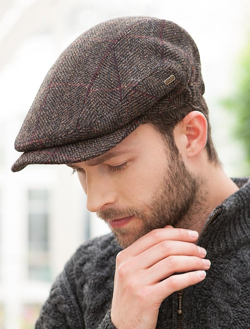 e8f65b0b783cd7 Kerry Tweed Flat Cap - Brown with Red | Mucros Weavers
